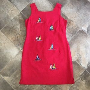 VTG Red Linen Embroidered Sailboat Dress Plus Size